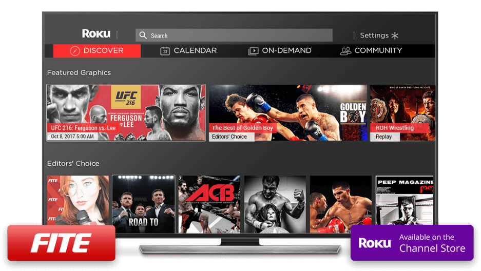 FITE launches a new ROKU channel Complete offering of its Pay-Per-View and Video On Demand programming