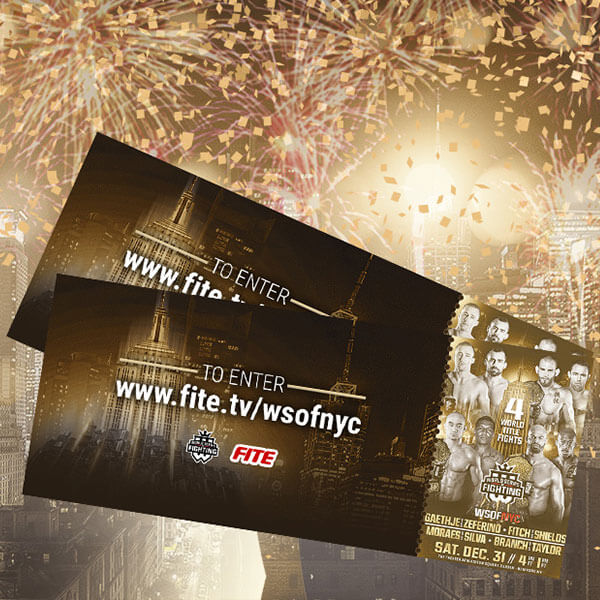 WORLD SERIES OF FIGHTING AND FITE TV ANNOUNCE SWEEPSTAKES FOR UPCOMING WSOFNYC MEGA EVENT ON NEW YEAR'S EVE